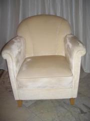 Sessel in Möbelmanufaktur-Qualität - hellbeige velours