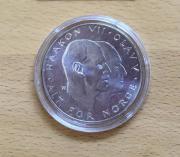Silbermünze 25 Kroner 1970 Norwegen