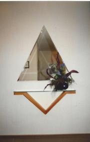 Spiegel und Wandbord Massivholz mit