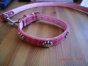 Stylisches Hundeleinen -halsband-Set rosa Krokolacklederimitat