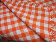Tischdecke orange-weiß kariert 140cm x