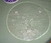 tolle Glasplatte mit Entenmotiv rund