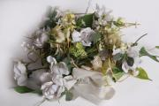 Trockengesteck gelb-weiß- Kunstblumen-Textilblumen-Deko