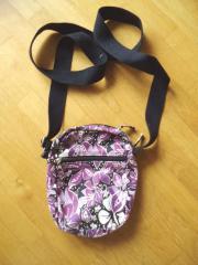 Umhängetasche aus Stoff - schwarz lila